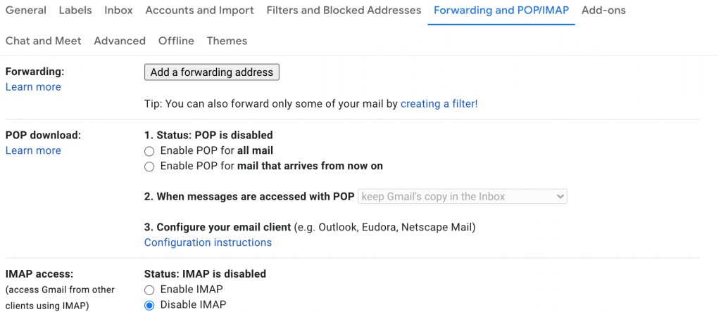 """screenshot of the gmail settings window showing the button you can click to """"add a forwarding address"""""""